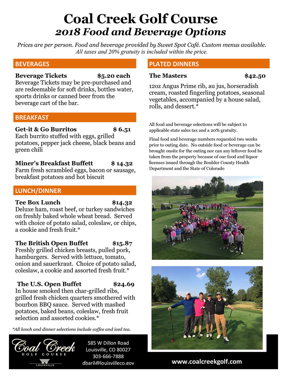 2018 Coal Creek Golf Course Outing Prices