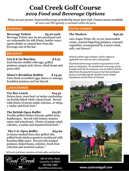 2019 Coal Creek Golf Course Outing Prices 2