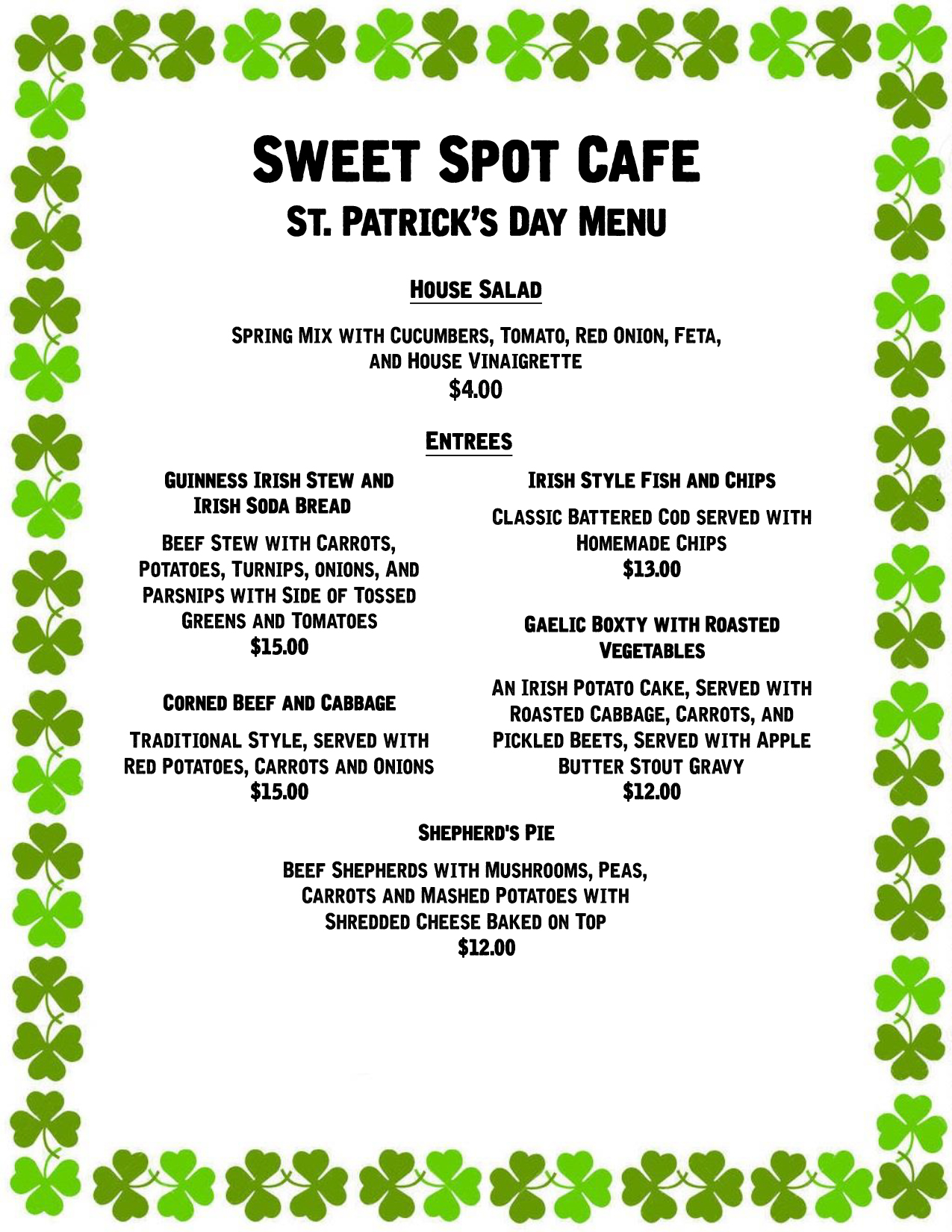 St Pats Day 2016 Menu